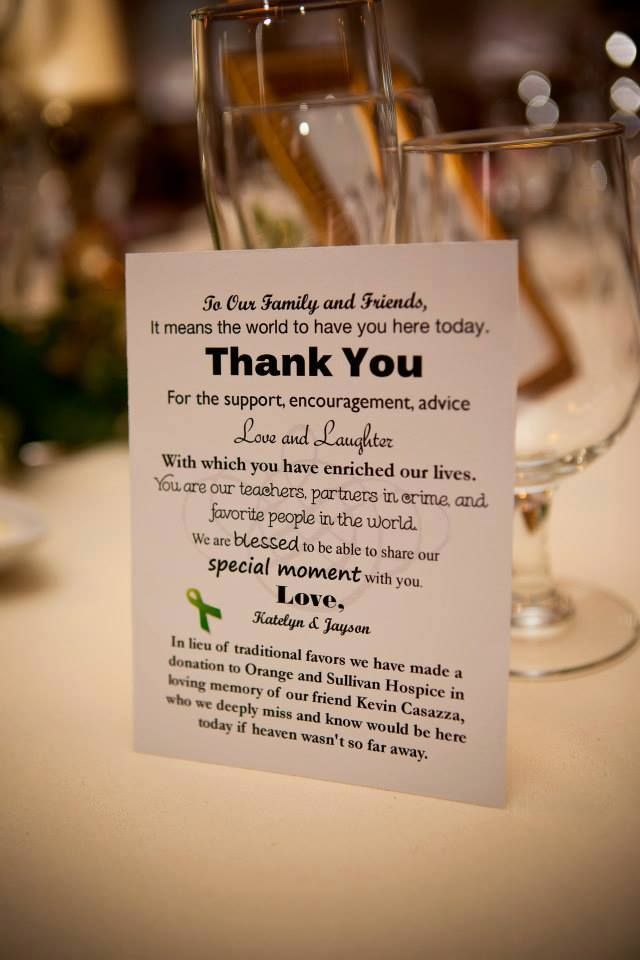 Donation Card in lieu of favors