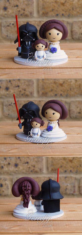 Star Wars family - Darth Vader - Queen Amidala - Princess Leia - wedding cake topper by Genefy Playground  https://www.facebook.com/genefyplayground