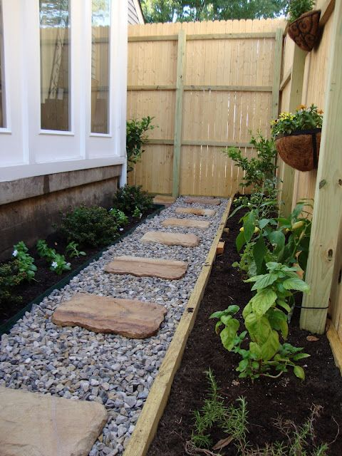 Great way to have a garden and a path in those small areas on the side of your house.