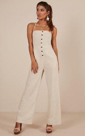 1d4c16fdb470 Make Me Yours Jumpsuit In Natural Linen Look