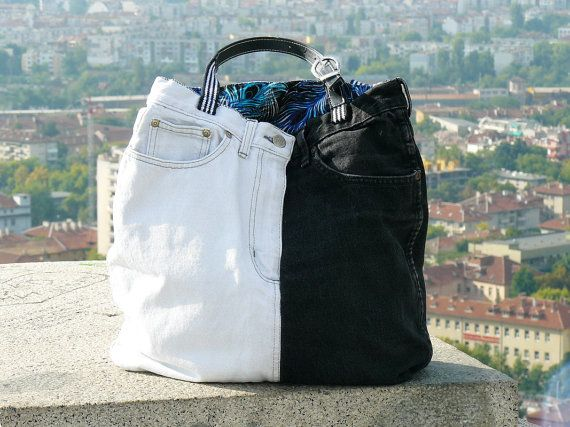 Black and White Denim Handbag Repurposed Jeans Shoulder Bag Recycled Old Belt Handles Peacock Patterned Linen Lining Open and Zipper Pocket