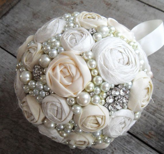 147 best kissing ball images on pinterest fabric flowers decor items similar to ivory rosette rhinestone and pearls pomander fabric flower kissing ball vintage style wedding bouquet on etsy mightylinksfo Choice Image
