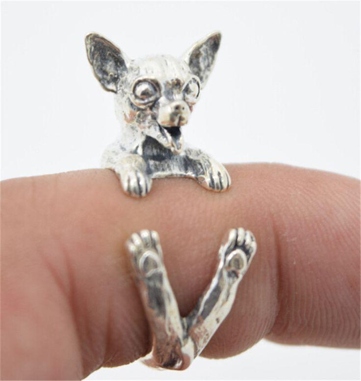 Perak Vintage Lucu Chihuahua Anjing Chihuahua Rings Rings untuk Anak Laki-laki dan Perempuan Lucu Baru Hadiah Tahun RONGQING-JZ004