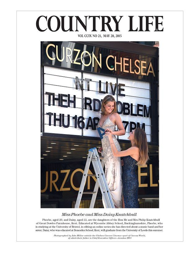 Sisters Phoebe and Daisy Knatchbull, 20 and 22 here, were pictured in ballgowns beneath the branding of one of their father's cinemas. The Honourable Mr Philip Knatchbull is the CEO of Curzon World and the brother of Norton Knatchbull, the 8th Baron Brabourne, a descendant of Queen Victoria, whose godfather is Prince Philip. Daisy works in PR and Phoebe is at Bristol University