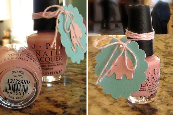 As big nail polish fans we couldn't help but gush over this baby shower game prize! As if OPI's cleverly named polish wasn't sweet enough, the little elephant tag LeAnn added gives it even more charm.