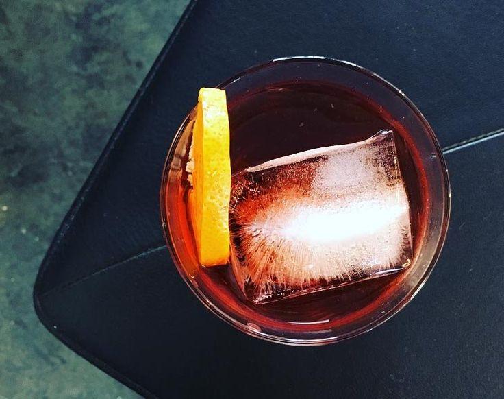 sailors negroni (1 oz. Campari 1 oz. Cinzano 1757 rosso vermouth ½ oz. coffee liqueur (Angiolillo uses Sailor's) ½ oz. mezcal)