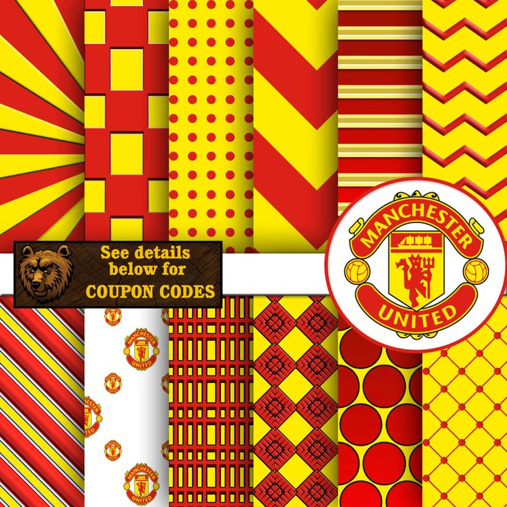 Manchester United, football, soccer, digital paper, download, background, scrapbook by BearsDenDigitalArts on Etsy