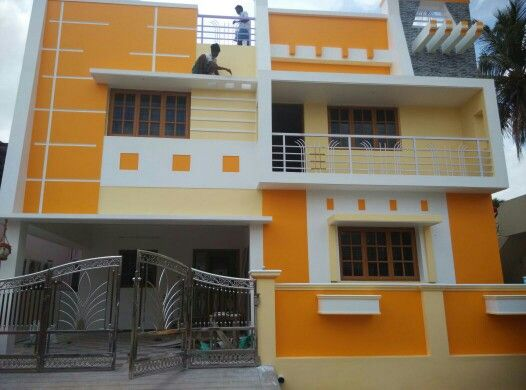 Orange yellow with white brighter colour scheme exterior - Indian home exterior colour combinations ...