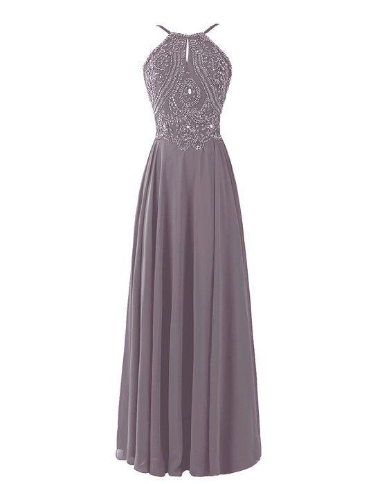 Dresstells® Long Prom Dress Halter Chiffon Bridesmaid Beadings Evening Gown Grey Size 6
