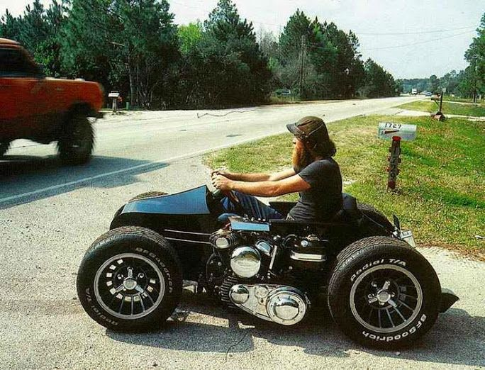 Car made from a 1936 Harley Davidson sidecar equipped with it's own 45 cubic inch flathead engine.