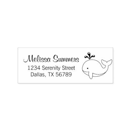Chubby Cartoon Whale Address Rubber Stamp - animal gift ideas animals and pets diy customize