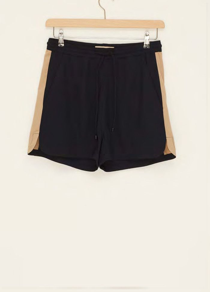 navy drawtring shorts with nude panels