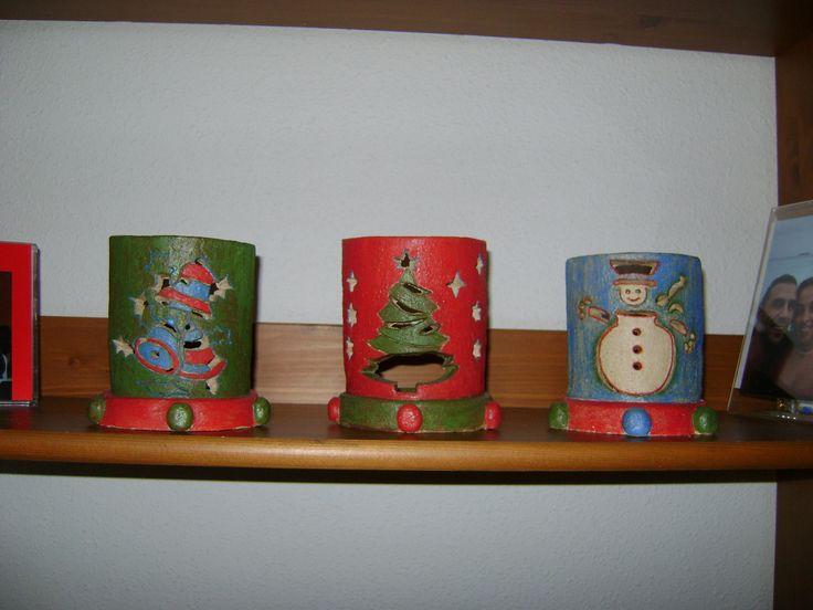 Porta velas de navidad en cerámica