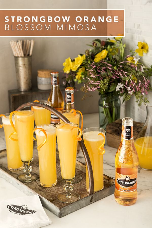 Try a new twist on a classic favorite using Strongbow Orange Blossom Hard Cider. With freshly squeezed orange juice and a sparkling wine of your choice, this orange blossom mimosa makes a quick and easy go-to cocktail for brunch on a Sunday Funday.