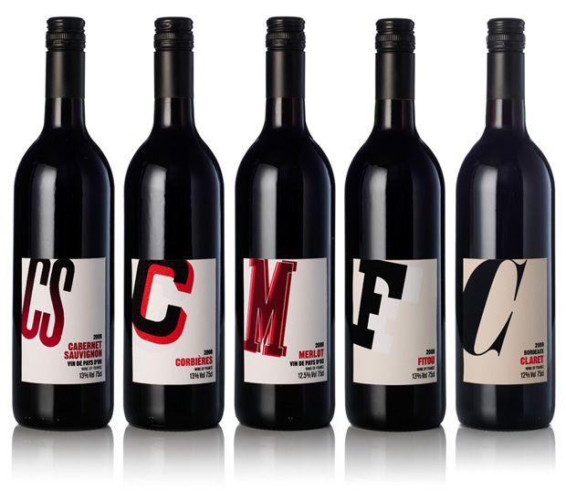 Pentagram, 2010 || 4 dettagli tipografici per 4 vini francesi in questo progetto Pentagram. Direzione artistica di Henry Pearce.