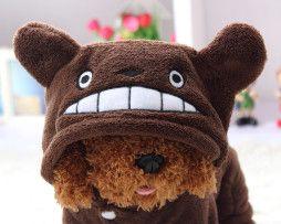 Rozkošný oblek/mikina pre psíka so smajlíkom v hnedej farbe