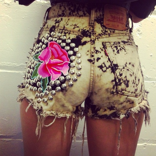 DIY shorts this summer. Except for the flower and studs.