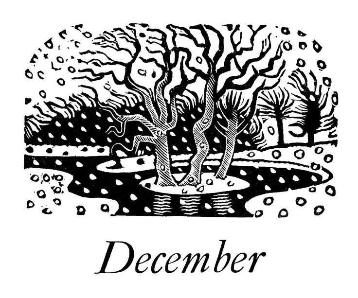 """December"" wood engraving by Eric Ravilious for the Kynoch Press, 1933. The Kynoch Press produced an annual notebook with decorations, which served as a showcase for their range of typefaces. Eric Ravilious was asked to design the 1933 production."