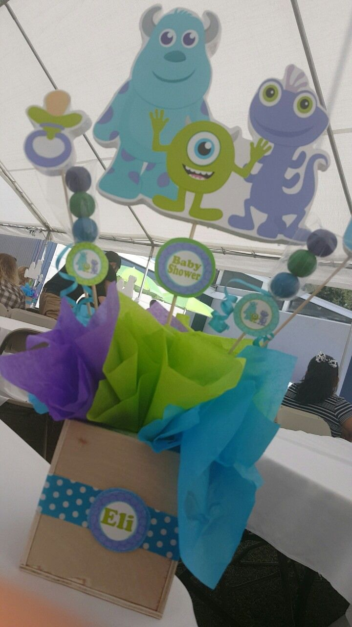 Monsters Inc baby shower center piece. Perfect for a boy or girl.