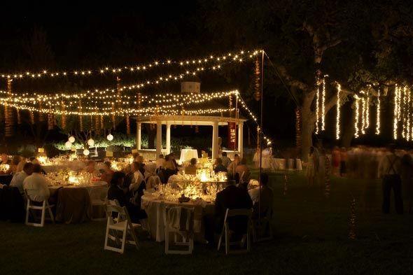 string lights, outdoor reception, backyard wedding reception ideas Pinterest