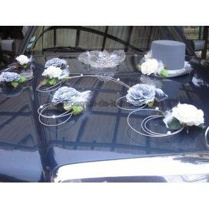 Décoration de voiture de Mariage élégante avec chapeau et diademe