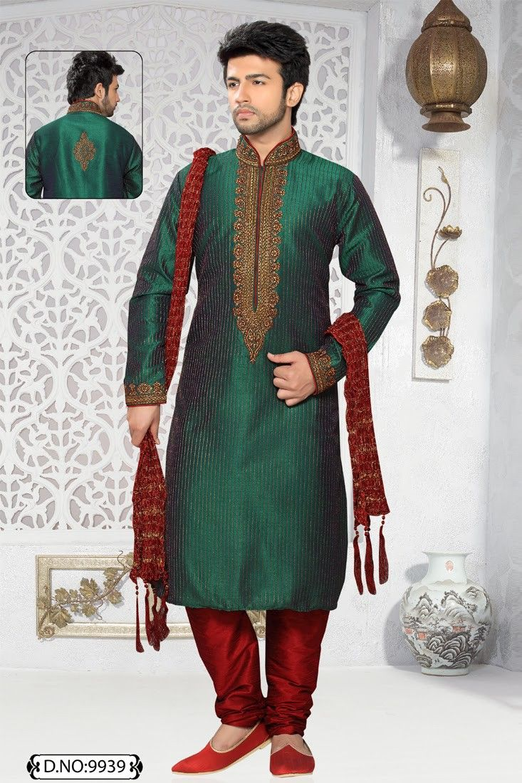 Green Art Silk and Dupion Kurta Pajama