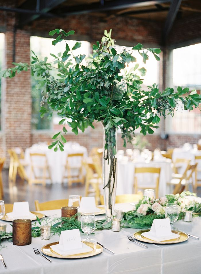 Good Natural Green Wedding, Tall Centerpieces // Heather Payne Photography