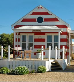 Cute little Beach Huts you can stay in for your holiday getaway in Middleton, South Australia.