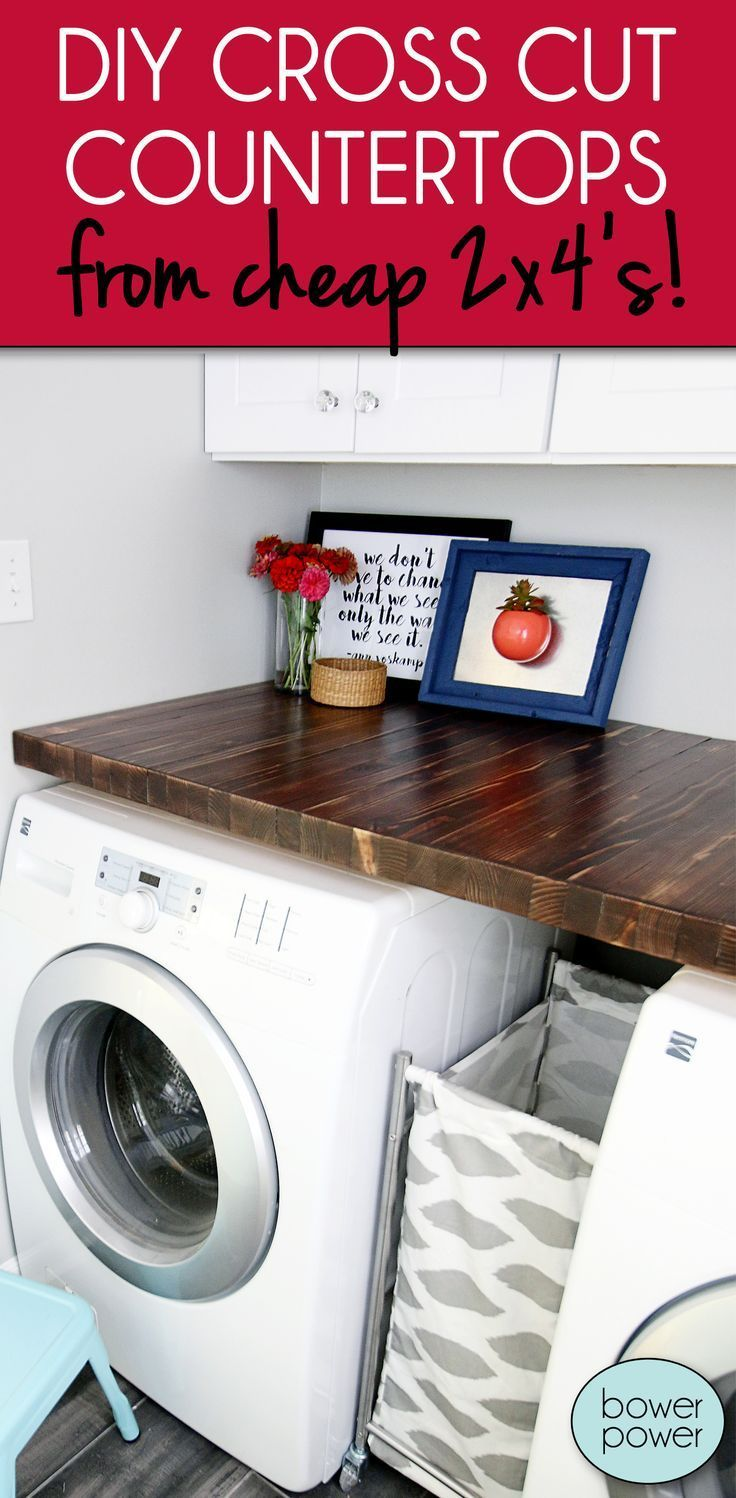 DIY Cross Cut Wood Countertops made from cheap 2 x 4's! The wood grain and texture makes for a beautiful and unique countertop, perfect for a laundry room or other small spaces!