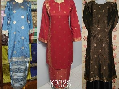 Traditional baju kurung made of songket material, Muslim clothing from Malaysia, Singapore, Brunei and Indonesia..........