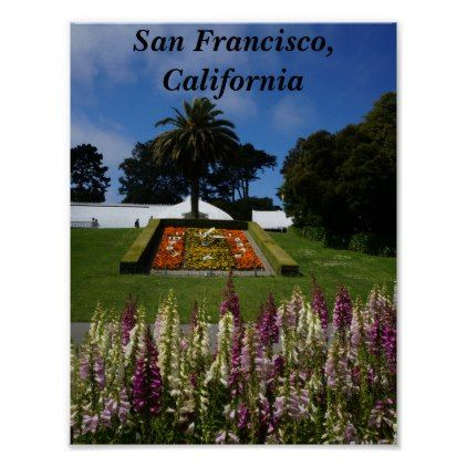 San Francisco Floral Clock Poster - golden gifts gold unique style cyo