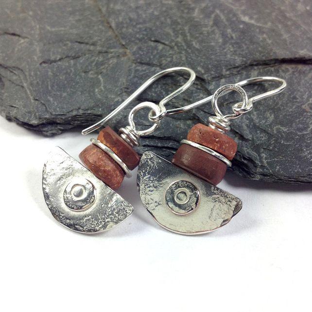Silver and bauxite Ulu blade earrings £38.00