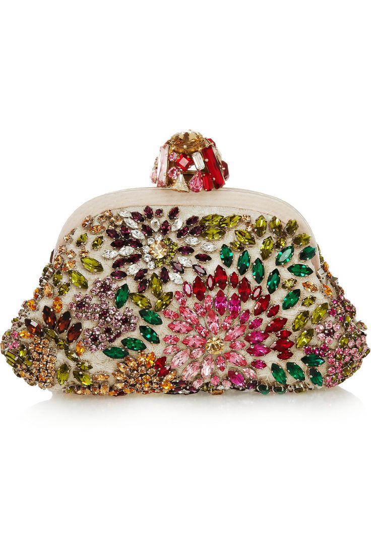 Dolce & Gabbana|Dea crystal-embellished lace and ayers shoulder bag|NET-A-PORTER.COM
