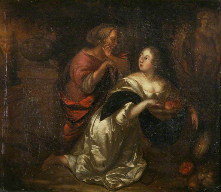 Caspar Netscher - Dame met fruit en bediende