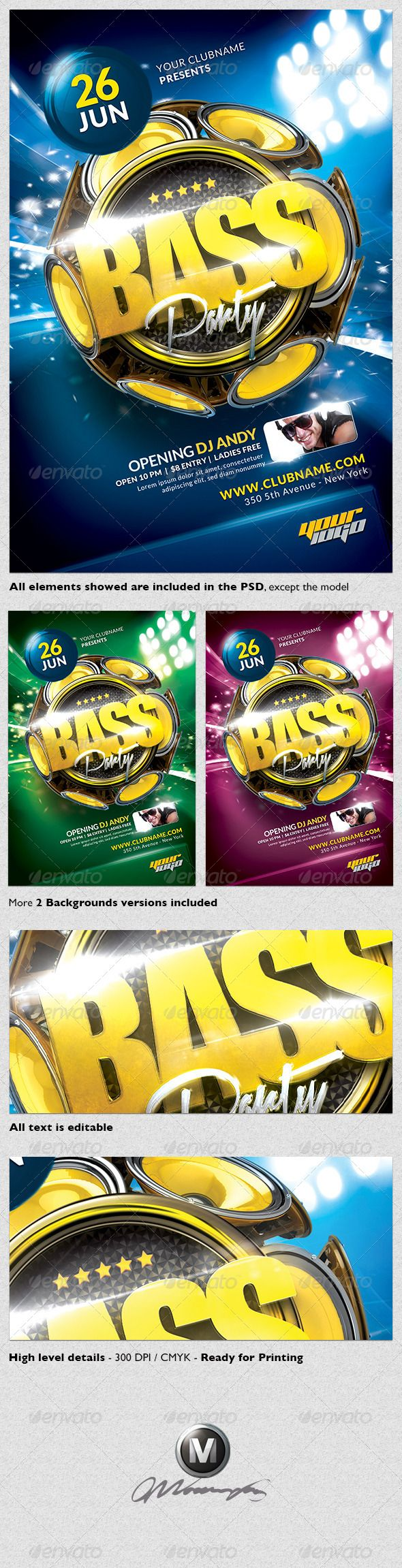 """Bass Party Flyer Template  #GraphicRiver         A modern and unique flyer template for your next party. Easy to modify, like changing colors, dimensions, etc. All text is editable. You can hide and show some layers and obtain more unique results! All elements shown are included in the PSD.   Features:   1 Print ready Photoshop file 1275px x 1875px (4×6"""" with .25"""" bleeds)  Each layer has its own name for your convenience. The template is much easier to edit.  All Paragraph/Character/Objects…"""