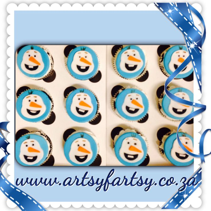 Olaf from Frozen 2D Cupcakes
