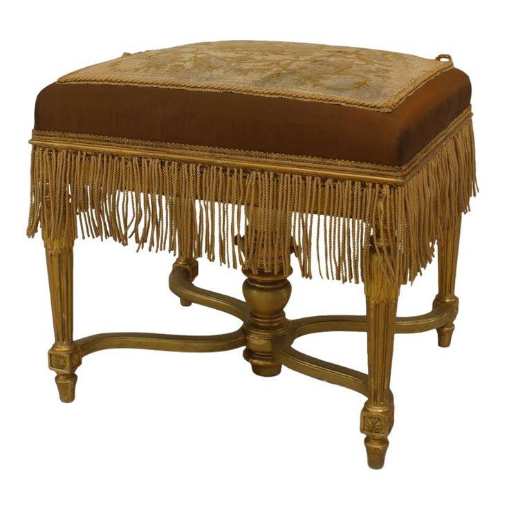 19th C. French Louis XVI Style Gilt Bench   – Products