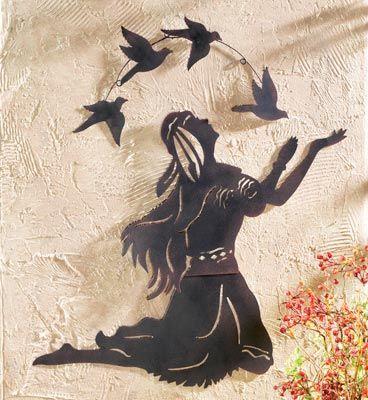 Native American Indian Woman and Bird Wall Art