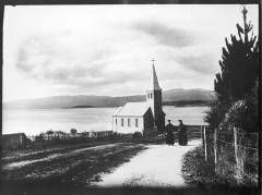 St Michael's church, Rotorua. Probably Frs Holierhoeck and Smiers, walking up towards Pukeroa Hill, ca. 1890. Photo held by Auckland War Memorial Museum