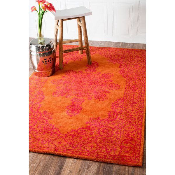 NuLOOM Handmade Traditional Wool Fancy Orange Rug 76 X 96 By Nuloom