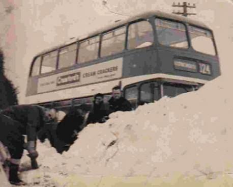 Digging out a bus in early 1963 - Hampshire