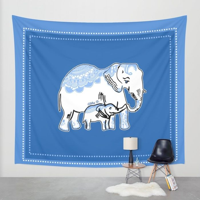 Ornate Elephants Blue and White Wall Tapestry by Artist Abigail at Society6