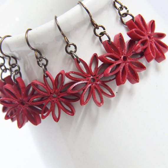 Red Star Earrings - Paper Quilling Eco Friendly Earrings, Artisan Jewelry