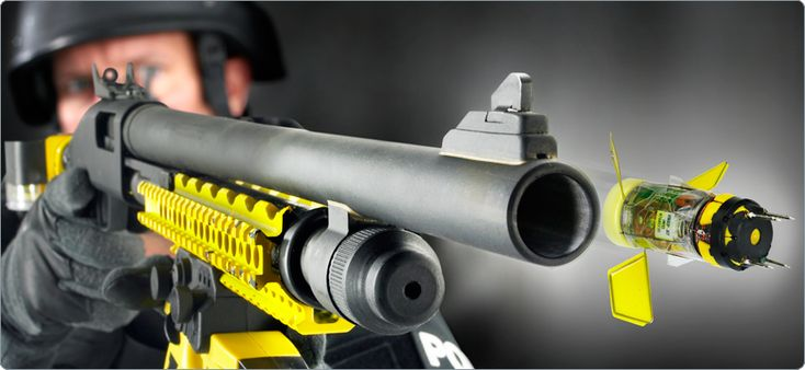 TASER XREP — Extended Range Electro-Muscular Projectile shotgun shell. XREP projectiles fire out of a standard 12-gauge shotgun, deploying three fins for stability while they fly toward the target. Should incapacitate victim for 20 seconds.