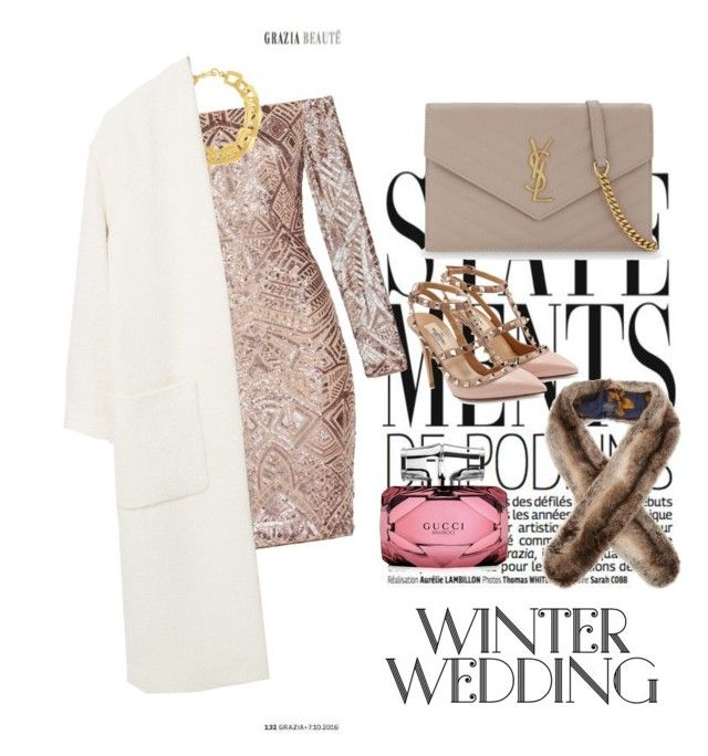 """Winter wedding"" by ann-kim-1 on Polyvore featuring BCBGMAXAZRIA, Stephanie Kantis, MANGO, Valentino, Yves Saint Laurent, Gucci and Joules"