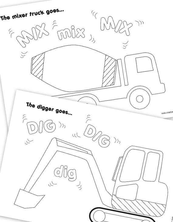 Construction Vehicle Colouring Pages - Construction Party Printables on Etsy, $2.61 CAD