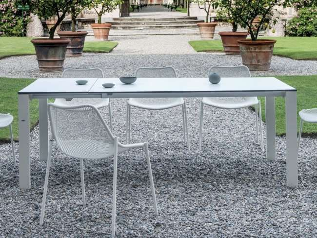 Emu 480 Ausziehbarer Garten Ess Tisch Round Aus Stahl Mit Hpl Platte 160 Cm Bis 268 Cm Ambiente Farb Gartentisch Weiss Garten Essgruppe Ausziehbarer Gartentisch