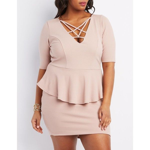 Charlotte Russe Caged Peplum Bodycon Dress ($35) ❤ liked on Polyvore featuring plus size women's fashion, plus size clothing, plus size dresses, blush, plus size bodycon dress, pink peplum dress, peplum cocktail dress and plus size pink dress