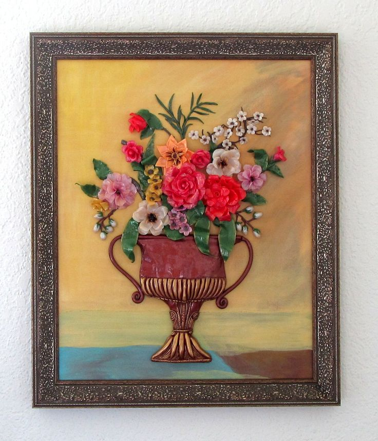 Polymer Clay Wall Art - Vintage Flower Vase