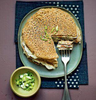 recette de galettes de blé noir ou sarrasin au saumon et  au fromage frais